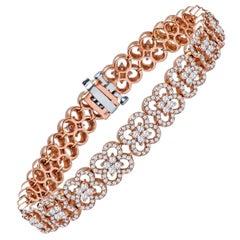 4.03 Carat Total Round Brilliant Diamond Clover Style Bracelet, 14 Karat Gold