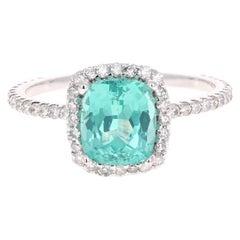 2.90 Carat Cushion Cut Apatite Diamond 14 Karat White Gold Engagement Ring