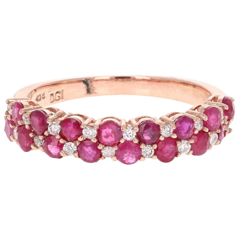 1.90 Carat Diamond Ruby Rose Gold Stackable Bands For Sale