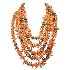 Five Rows of Coral Sticks Graduating Necklace