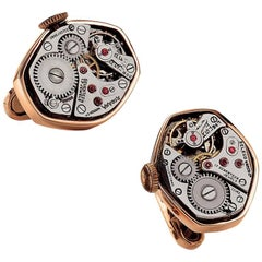 Cellini Jewelers 18 Karat Rose Gold Watch Movement Cufflinks