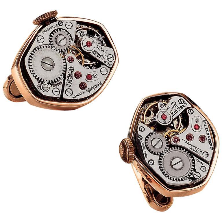 Cellini Jewelers 18 Karat Rose Gold Watch Movement Cufflinks For Sale