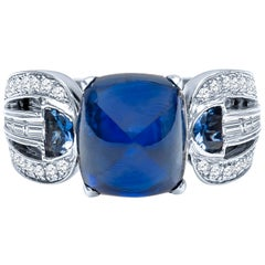 9.06 Carat Sugarloaf Cabochon Natural Blue Sapphire Ring with Diamond Accents