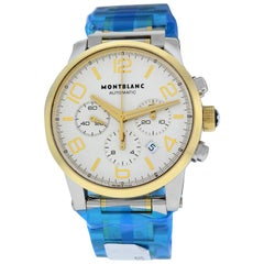 Men's Montblanc Timewalker 107320 Steel Gold Chrono Watch