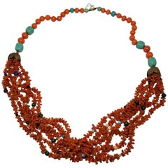 Natural Coral Beads and Sticks with Turquoise and Semi-Precious Stones