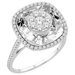 Diamonds Inlaid Into White Quartz Cushion Ring