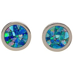 18 Karat, White Gold, Mosaic Opal Cufflinks with Coin Edge