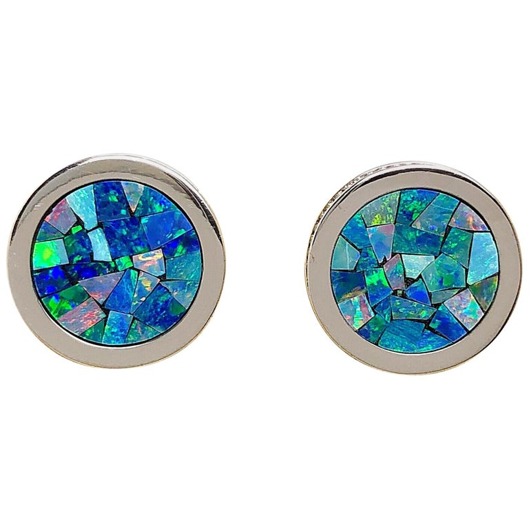 18 Karat, White Gold, Mosaic Opal Cufflinks with Coin Edge For Sale