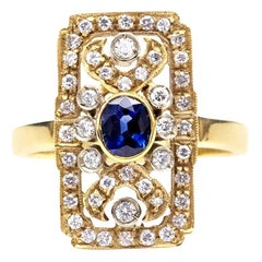 Art Deco Sapphire Diamond and 18 Karat Gold Ring