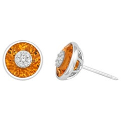 Diamonds Inlaid Into Citrine Earrings