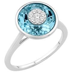 Diamonds Inlaid Into Blue Topaz Ring