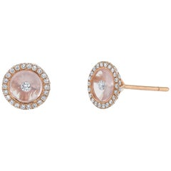 Rose Quartz and Diamond Rose Gold Stud