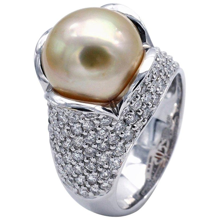 Pearl Diamond 18 Karat Gold Cocktail Ring For Sale