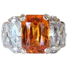 Platinum J.B. Star 6.75 Carat Spessartite Garnet and Diamond Ring