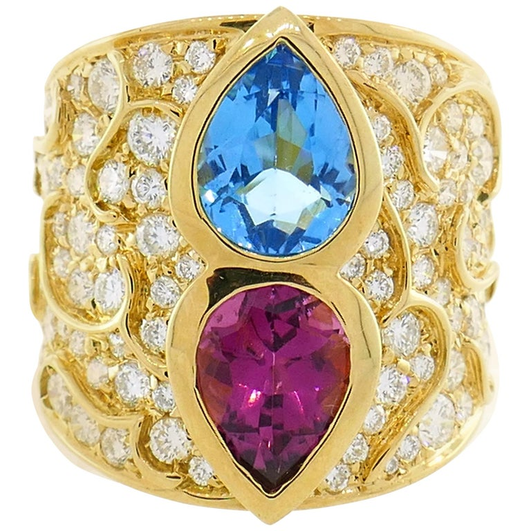 Marina B Yellow Gold Ring with Blue Topaz Tourmaline Diamond, 1980s For Sale