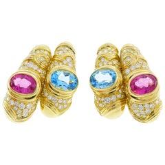 Marina B Yellow Gold Hoop Earrings with Blue Topaz Tourmaline Diamond, 1980s
