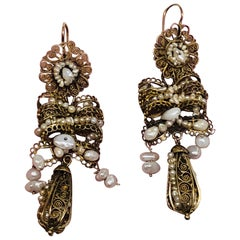19th Century Spanish Girandolle Filagree Work Earrings Set with Pearls