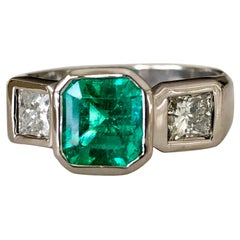 Estate Square Fine Colombian Emerald Diamond Ring White Gold 18 Karat