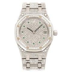 Audemars Piguet White Gold Royal Oak Diamond and Emerald Watch