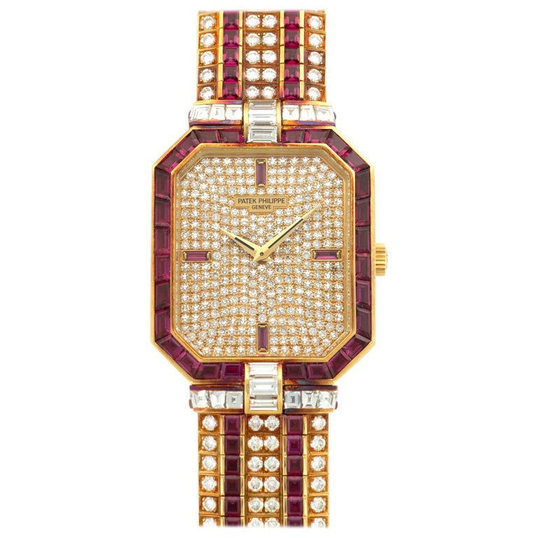 Patek Philippe Yellow Gold Ruby and Diamond Watch Ref. 3994 For Sale