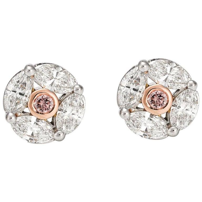 Giulians 18k Pink and White Diamond Stud Earrings  For Sale