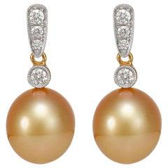 Giulians 18k Golden South Sea Pearl and Diamond Earrings