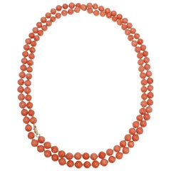 Genuine Salmon Coral Bead Knotted String Long Necklace with 14 Karat Yellow Gold
