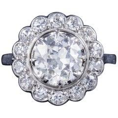 Antique Edwardian 3.62 Carat Old Cut Diamond Cluster Ring Platinum, circa 1915