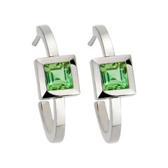 Le Carré Earrings in 18 Carat White Gold 2 Tourmalines 1.47 Carat