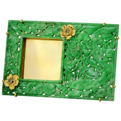 French art deco 18k gold & carved jade picture frame, with brown diamonds, 1920