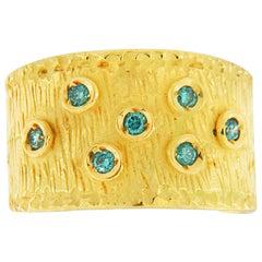 Sacchi Blue Diamonds Gemstone 18 Karat Yellow Gold Wide Band Ring Roman Style