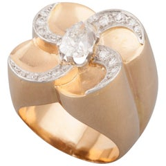 French Gold and Diamonds Vintage Ring