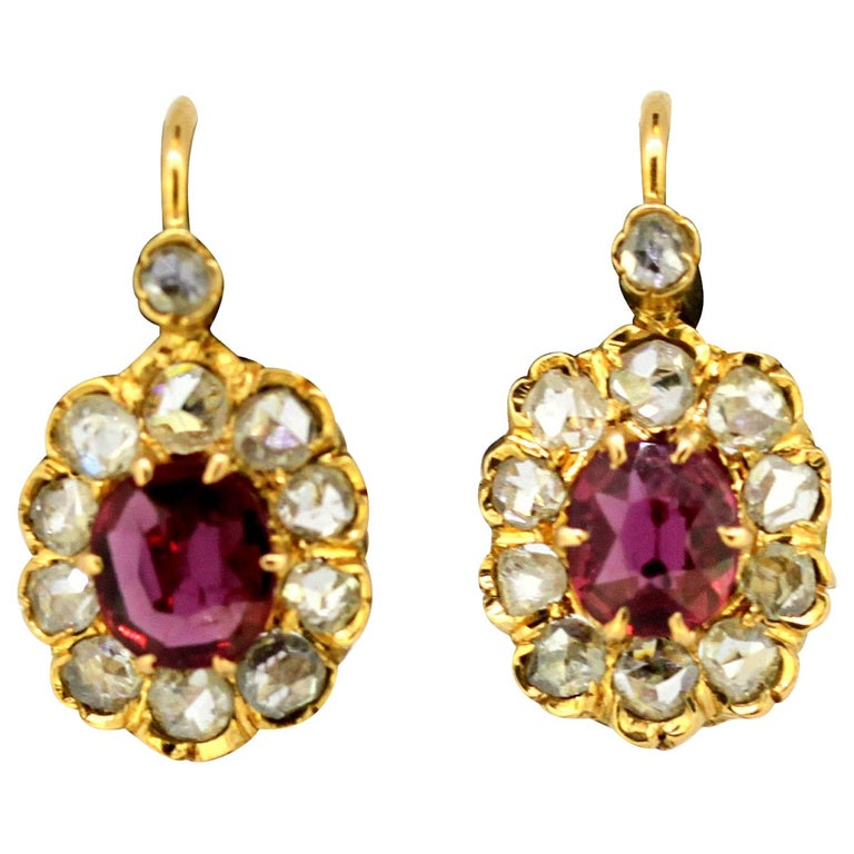 8bf9a83b2bff5 Antique Victorian 18 Karat Gold Earrings, with Natural Ruby and Diamonds,  1880s