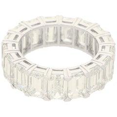 12.53 Carat Emerald-Cut Diamond Full Eternity Ring in Platinum