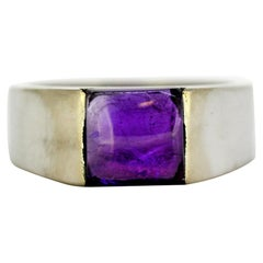 Cartier 18 Karat White Gold Ring with Natural Amethyst, France, 1998