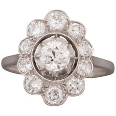 French Platinum and Diamonds Art Deco Ring