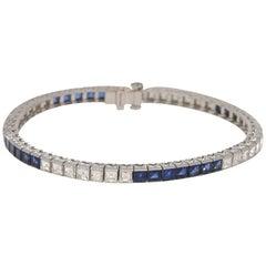 4.52 Carat Sapphire and 4.02 Carat Diamond Line Bracelet Platinum