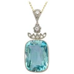 Antique 8.25 Carat Aquamarine and Diamond, Yellow Gold Pendant
