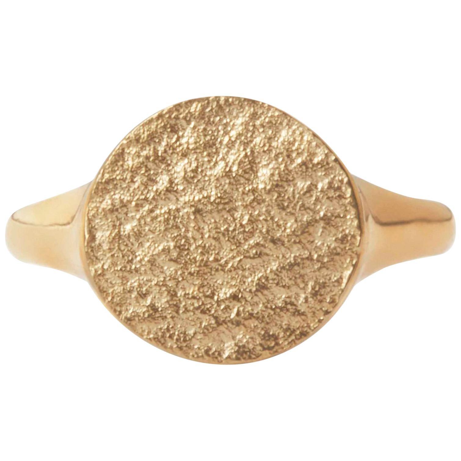 Textured Signet Ring in 9 Karat Gold by Allison Bryan