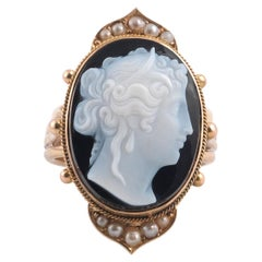 Hardstone Agate Cameo Ring