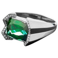 Sasonko 6.85 Carat Tourmaline Diamond 18 Karat White Gold Ring