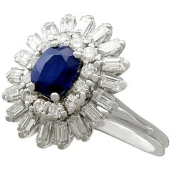 1970s 1.25 Carat Sapphire and 1.15 Carat Diamond White Gold Cocktail Ring
