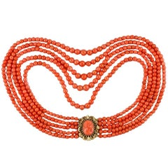 Victorian Five-Row Coral Yellow Gold Necklace