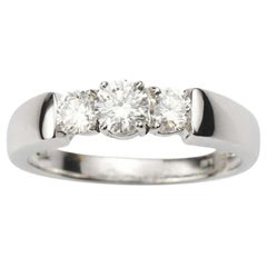Three-Stone Diamond Engagement Ring 0.68 Carat