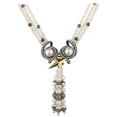 18 Carat Gold, Blackened Silver, Pearl and Diamond 'Voyager' Tassel Necklace