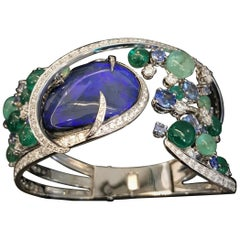 Clamper Bracelet Drop Cabochon Cut Iridescent Blue Opal Emeralds Beads