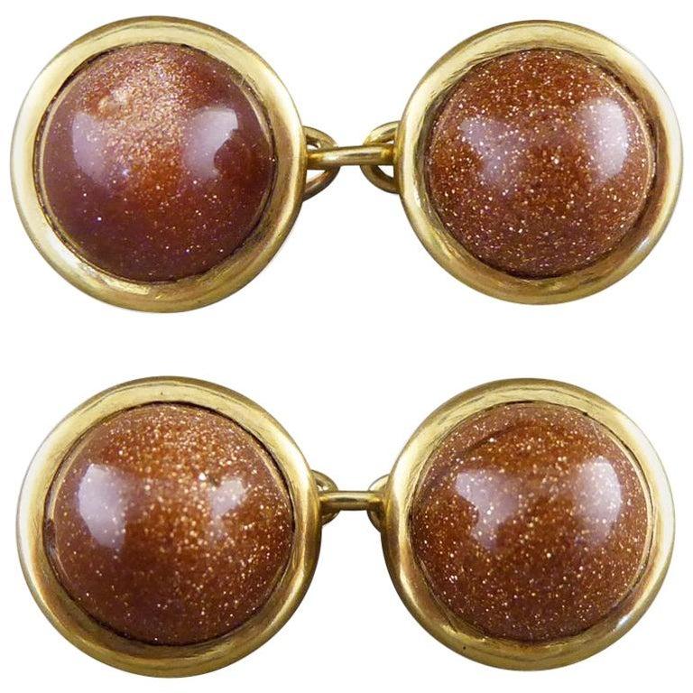Antique Edwardian Goldstone Cufflinks in 18 Carat Gold For Sale