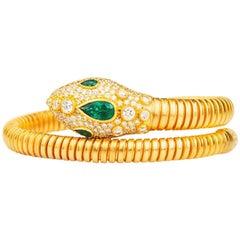 22 Karat Gold Emerald and Diamond Snake Head Tubogas Flexible Cuff Bracelet