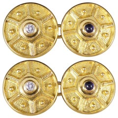Vintage 18 Carat Gold Cufflinks with Diamond and Cabochon Sapphire Centres