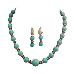Beaded Necklace White Gold Brilliant Washers Turquoise Spheres and Ruby Beads
